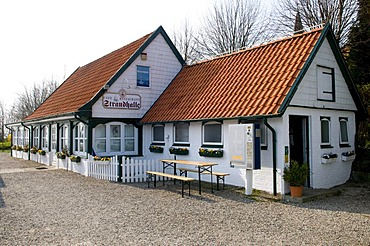 Strandhalle venue with a cafe in Arnis, Schlei, Schleswig-Holstein, Germany, Europe