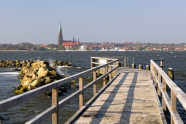 Jetty on the Schlei river, Schleswig, Schleswig-Holstein, Germany, Europe
