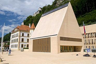 Parliament building and the National Museum in Vaduz, Principality of Liechtenstein, Europe