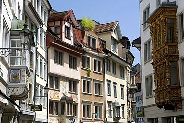 Spisergasse, a lane in the centre of St. Gallen, Switzerland, Europe