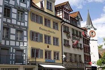 Typical row of houses in the centre of St. Gallen, Switzerland, Europe