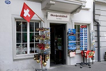 Swiss flag on Geschenklaedeli, souvenir shop, St. Gallen, Switzerland, Europe
