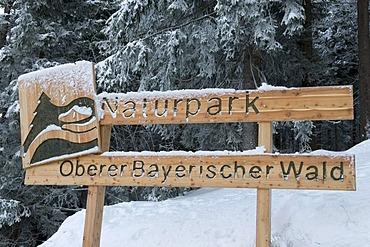 Sign for the Naturpark Oberer Bayerischer Wald nature park, Bavarian Forest, Bavaria, Germany, Europe