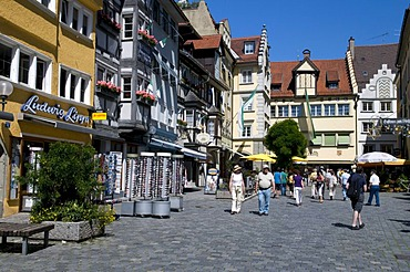 Maximilianstrasse shopping street in the old town, Lindau, Lake Constance, Bavaria, Germany, Europe