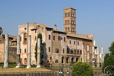 Church of Santa Francesca Romana and the Temple of Venus and Roma in the Forum Romanum, Rome, Italy, Europe