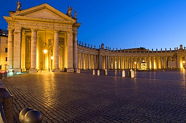 St. Peter's Basilica and St. Peter's Square at night, Rome, Italy, Europe