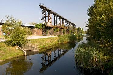 Reflection in the Landschaftspark landscape park Duisburg Nord, Duisburg, Ruhrgebiet area, North Rhine-Westphalia, Germany, Europe