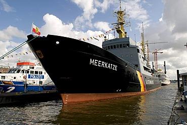 Coast guard ship in the harbor of Hamburg, Germany, Europe