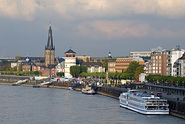 Rhine river waterfront with Lambertus Basilica and castle tower, state capitol Duesseldorf, North Rhine-Westphalia, Germany, Europe