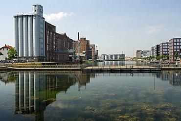 Panorama with Museum Kueppersmuehle, Innenhafen Duisburg harbor, Route der Industriekultur Route of Industrial Heritage, Essen, Ruhrgebiet region, North Rhine-Westphalia, Germany, Europe