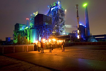 Night shot of the former Meidericher Eisenhuette ironworks, Landschaftspark Duisburg Nord landscape park, Route der Industriekultur Route of Industrial Heritage, Essen, Ruhrgebiet region, North Rhine-Westphalia, Germany, Europe