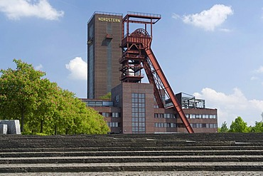 Headframe and Malakowturm tower of the former Zeche Nordstern mine in the Nordsternpark, Route der Industriekultur Route of Industrial Heritage, Gelsenkirchen, Ruhrgebiet region, North Rhine-Westphalia, Germany, Europe