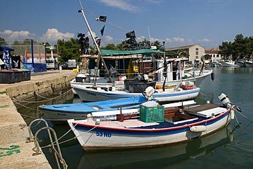 Fishing boats in the harbor of Novigrad, Istria, Croatia, Europe