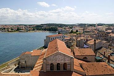 View from the Euphrasian Basilica, UNESCO World Heritage Site, Porec, Istria, Croatia, Europe