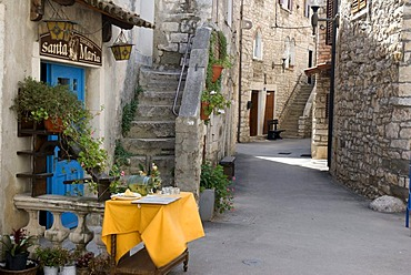 Restaurant in the historic town, Umag, Istria, Croatia, Europe