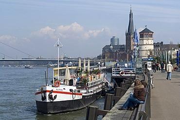 Restaurant boat at the Rheinuferpromenade, River Rhine Promenade, Duesseldorf, state capital of North Rhine-Westphalia, Germany, Europe