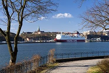 Ferry Viking Line at the Saltsjoen off Soedermalm, Stockholm, Sweden, Scandinavia, Europe