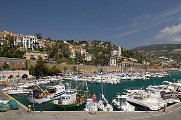 Port and townscape, Bordighera, Riviera, Liguria, Italy, Europe