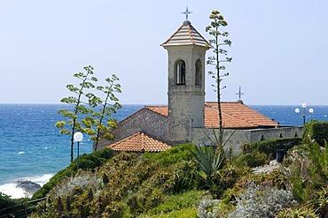 Chiesa di Sant Ampelio Chapel at the cape, Bordighera, Riviera, Liguria, Italy