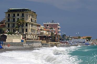 Waves on the beach, Bordighera, Riviera, Liguria, Italy, Europe