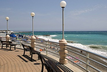 Beach promenade, Bordighera, Riviera, Liguria, Italy, Europe