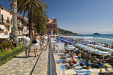 Promenade on the beach, Alassio, Italian Riviera, Liguria, Italy, Europe