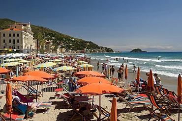 Umbrellas on the beach, Alassio, Italian Riviera, Liguria, Italy, Europe