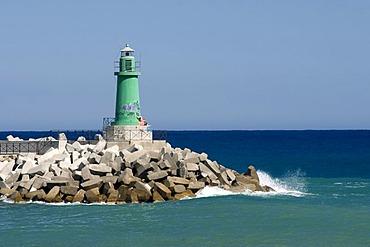 Lighthouse off the coast, Oneglia, Imperia, Riviera, Liguria, Italy, Europe