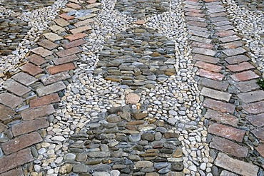 Pebble pavement in the historic centre, San Remo, Riviera, Liguria, Italy, Europe