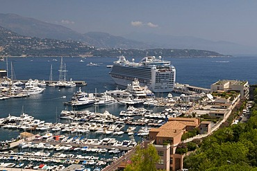 View of the harbor with Ruby Princess cruise ship, Monte Carlo, Cote d'Azur, Monaco, Europe