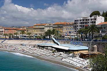 View of Nice and beach, Nice, Cote d'Azur, Provence, France, Europe