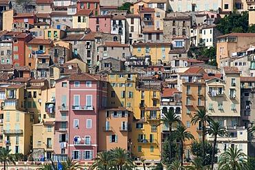 Dense housing in the historic centre, Menton, Cote d'Azur, Provence, France, Europe