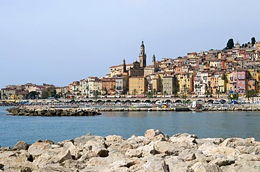 Historic centre on the coast, Menton, Cote d'Azur, Provence, France, Europe