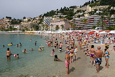 Beach and coastline, Menton, Cote d'Azur, Provence, France, Europe