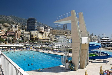 Outdoor pool and view of Monte Carlo, Monaco, Cote d'Azur, Europe