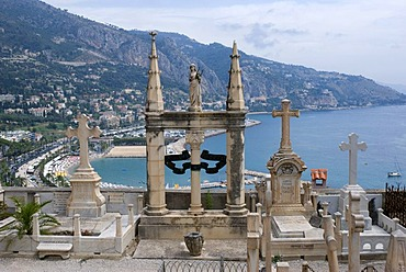Graves in the cemetery, Menton, Cote d'Azur, Provence-Alpes, France, Europe