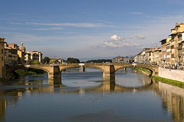 Urban landscape on the Arno river with Ponte Santa Trinita bridge, Florence, Tuscany, Italy, Europe