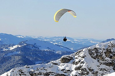 Paragliding on Mt Nebelhorn, 2224m, Oberstdorf, Allgaeu, Bavaria, Germany, Europe