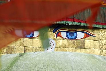 The all-seeing eyes of Buddha, Stupa of Bodhnath, Kathmandu, Nepal, Asia