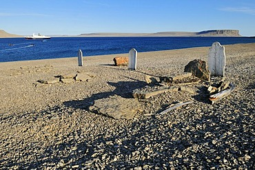 Grave of the famous lost Franklin Expedition, Northwest Passage, Beechey Island, Lancaster Sound, Nunavut, Canada, Arctic