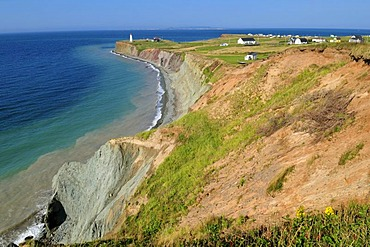 Colorful cliffs near Pointe de la Light, Ile D'Entree, Entry Island, Iles de la Madeleine, Magdalen Islands, Quebec Maritime, Canada, North America
