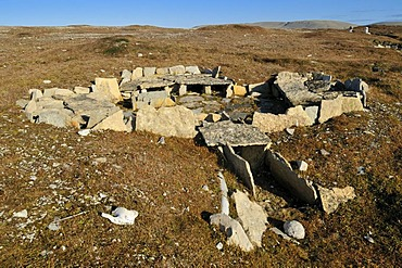 Historic remains of a Inuit house from the Thule culture, Resolute Bay, Cornwallis Island, Northwest Passage, Nunavut, Canada, Arctic