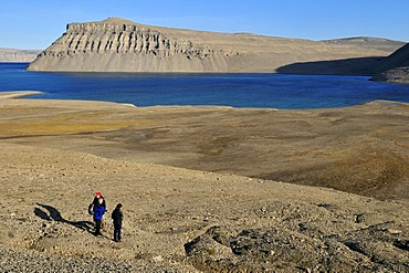 Hikers on permafrost and arctic tundra at Maxwell Bay, Devon Island, Northwest Passage, Nunavut, Canada, Arctic