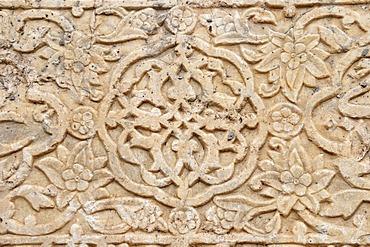 Calligraphy in Farsi on a historic gravestone in a mosque in Ardabil, Iran, Persia, Asia