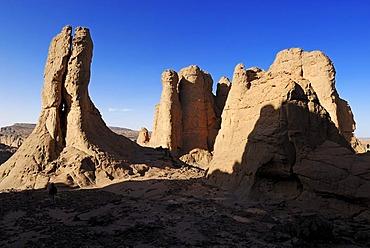 Rock formation at El Ghessour, Tassili du Hoggar, Wilaya Tamanrasset, Algeria, Sahara, North Africa