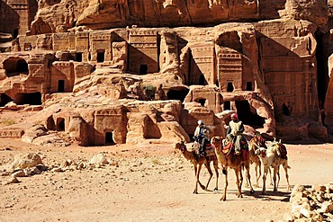 Bedouins on camels in the Nabataean city Petra, Unesco World Heritage Site, near Wadi Musa, Jordan, Middle East, Orient