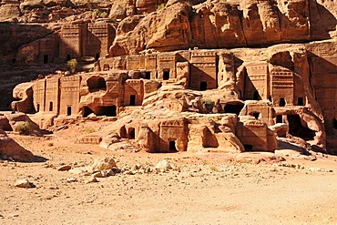 Facades engraved into rocks, Nabataean city of Petra, Unesco World Heritage Site, near Wadi Musa, Jordan, Middle East, Orient