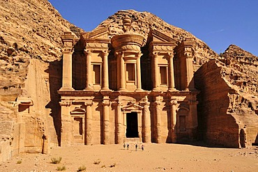 Facade of the procession monastery Ed-Deir, in the Nabataean city of Petra, Unesco World Heritage Site, near Wadi Musa, Jordan, Middle East, Orient