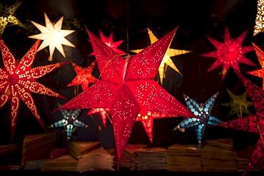 Illuminated stars, Christmas Market, Nuremberg, Franconia, Bavaria, Germany, Europe