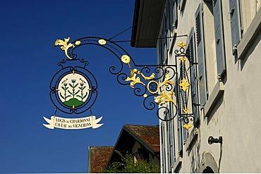 Tavern sign at the restaurant and wine cellar Logis de Chardonne Chardonnet, Vaud, Switzerland, Europe